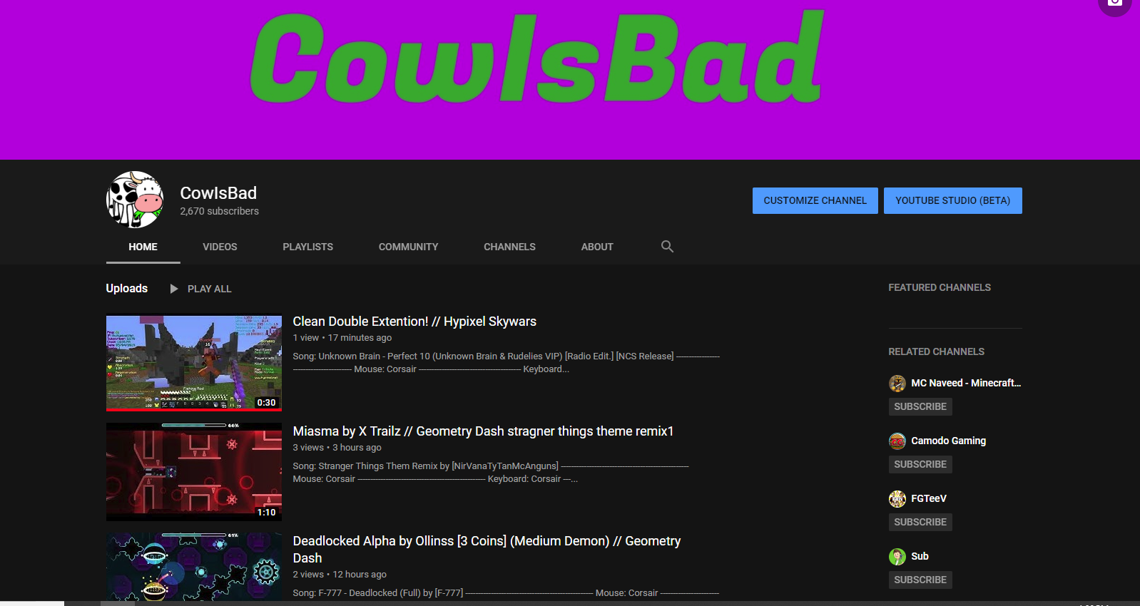 Rejected - CowIsBad's YT Application | ManaCube